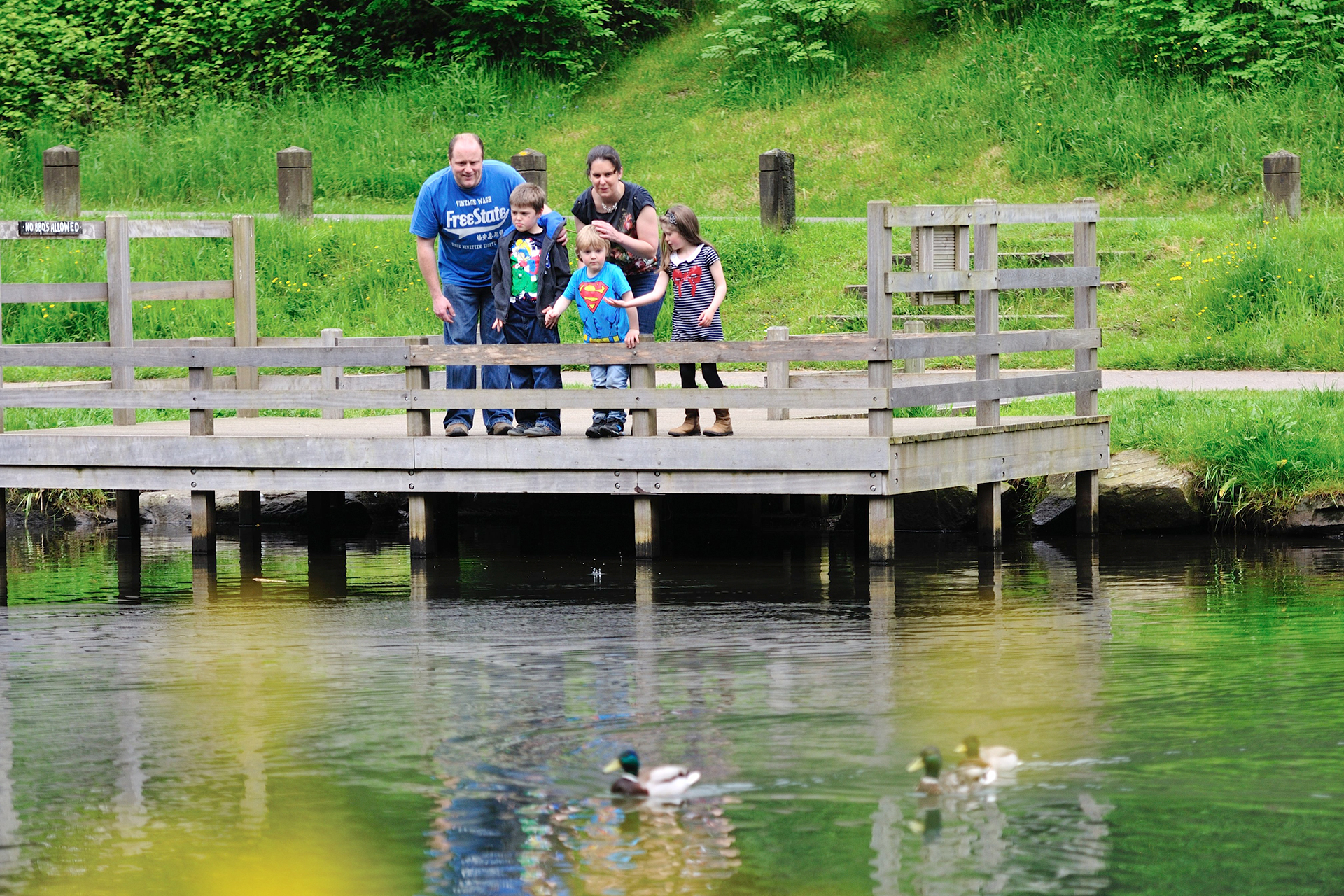 Family at Cwmcarn Lake