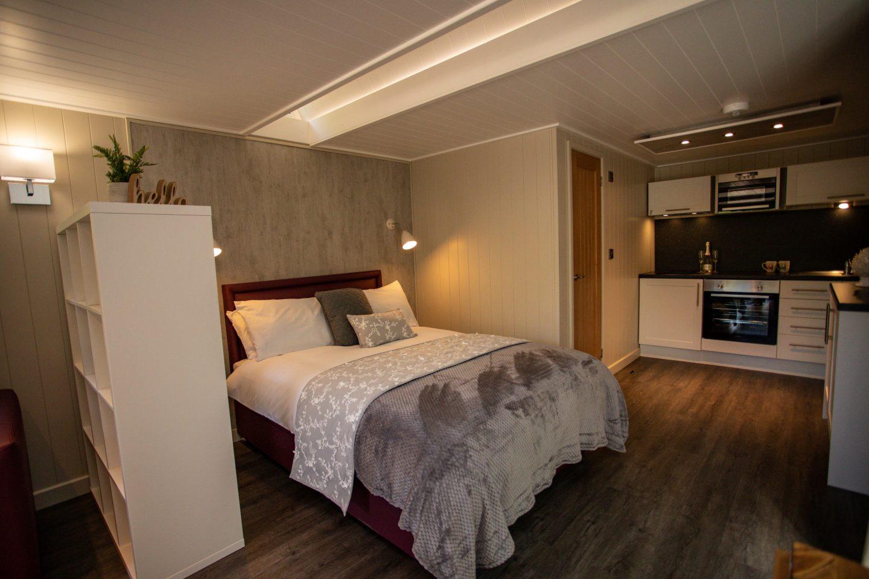 Cwmcarn Lodge interior bed