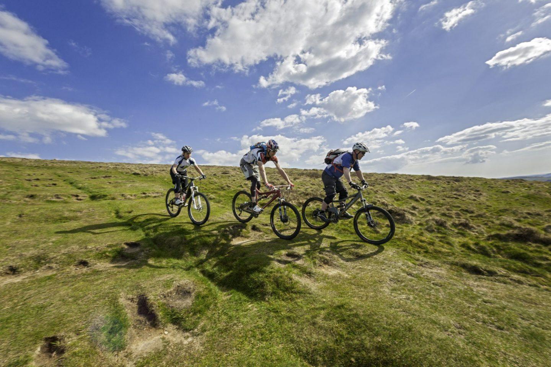 Mountain bikers downhill at Cwmcarn