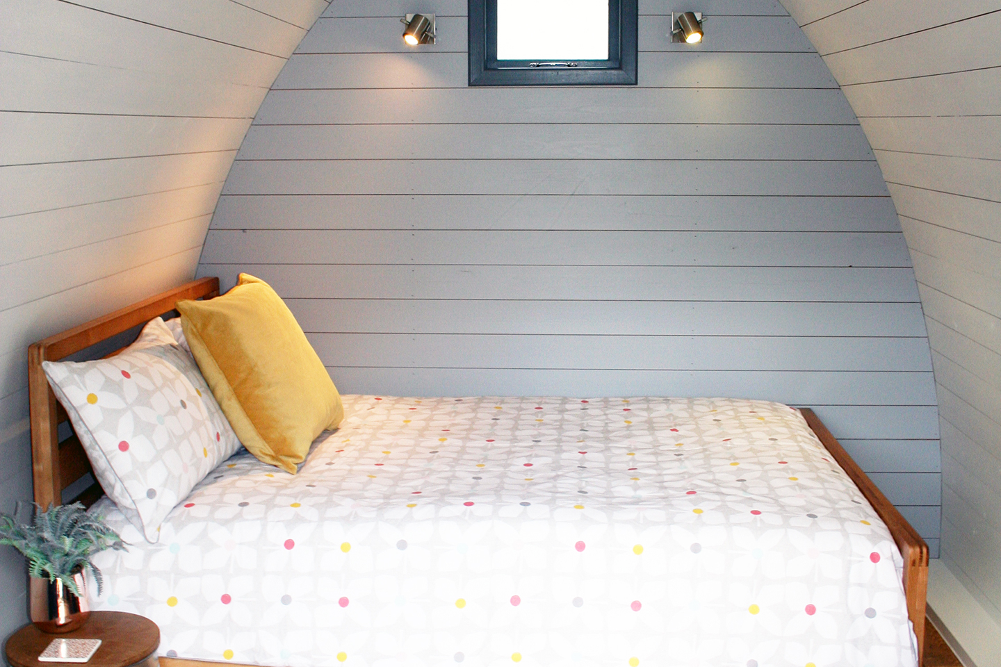 Glamping Pod interior bed