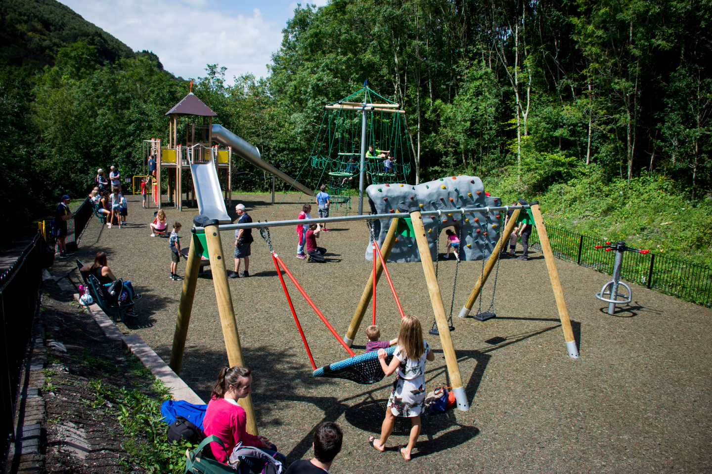 Cwmcarn Forest Adventure Playground swings